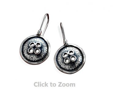 Sterling Silver Oxidized Button Design Hook Jewelry Earrings  64912