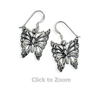 Oxidized Sterling Silver Butterfly French Hook Earrings  65194