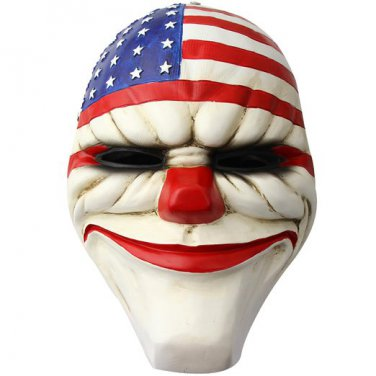 Payday2 The Heist Stars & Stripes Clown Resin Mask