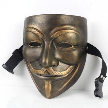 Resin V for Vendetta Bronze Mask Resin Anonymous Guy Fawkes Halloween Mask