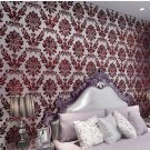 Luxurious 3d Stereo Velvet Non-woven Wallpaper red Color 21003