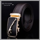 D&L Fashion brown Mens Automatic Alloy golden jaguar Buckle Leather Belt