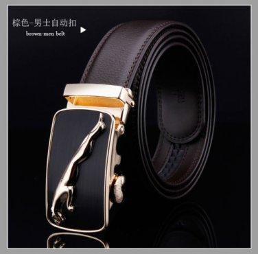 D&L Fashion brown Mens Automatic Alloy golden jaguar Buckle Leather Belt