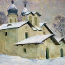 Winter Landscape Painting Original oil cardboard painting Soviet of the USSR