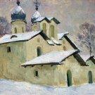 Winter Landscape Painting Original oil cardboard painting Soviet of the USSR