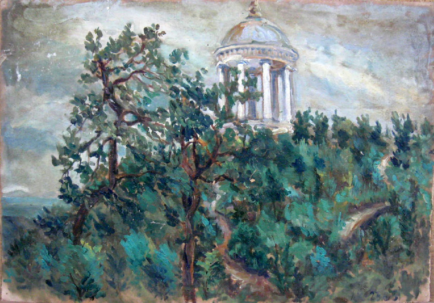 Landscape Painting Original paper oil Soviet of the USSR Ukraine Europe Realism Impressionism
