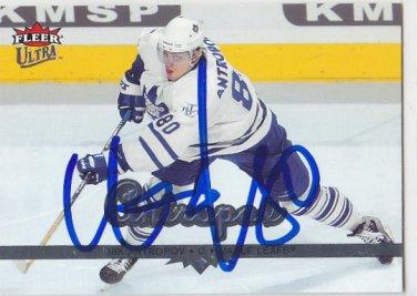 Nikolai Andropov Signed Maple Leafs Card Barys Astana