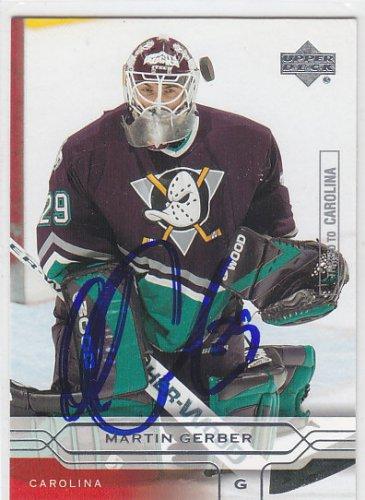Martin Gerber Signed Ducks Card Hurricanes - Kloten