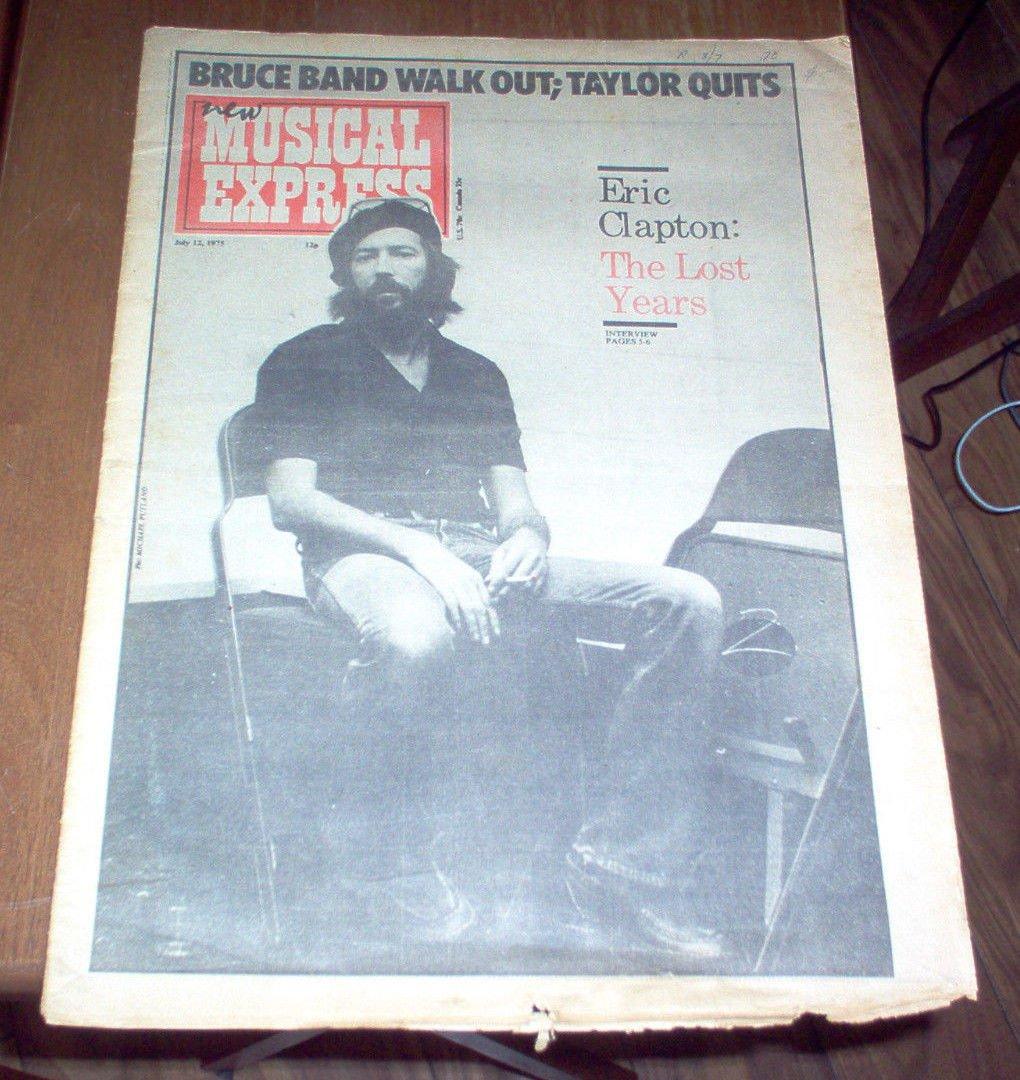 NME New Musical Express Magazine 1975 Eric Clapton Bob Marley Brian Wilson UK