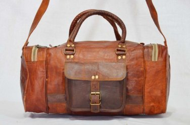 Real Handmade Goat Leather Travel Bag Genuine Duffle Shoulder Luggage Hippie Bag