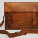 Real Goat Leather Handmade Genuine Messenger Bag Satchel Brown Briefcase Sling