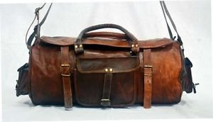 Real Leather Handmade Luggage Travel Bag Weekend Overnight Duffle Gym Brown Bag