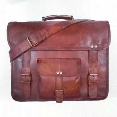 Real Leather Handmade Vintage Messenger Shoulder Bag Laptop Satchel Briefcase