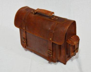 Real Genuine Vintage Leather Messenger Backpack Brown Bag Rucksack Briefcase
