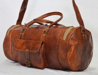 Real Goat Leather Handmade Vintage Travel Luggage Duffel Gym Bag Overnight Bag