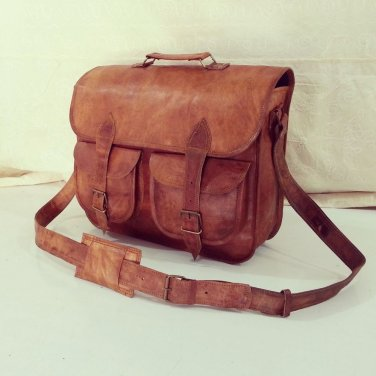 Real Leather Vintage Messenger Brown Bag Satchel Sling Handmade Briefcase Bag