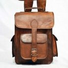 Real Leather Handmade Backpack Shoulder Bag Vintage Rucksack Brown School Bag