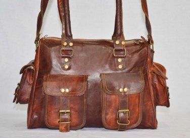 Handmade Vintage Leather Shoulder Bag Messenger Brown Ladies Purse Satchel