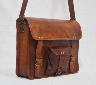 Real Leather Handmade Vintage Messenger Medium Size Sling Satchel Bag Briefcase