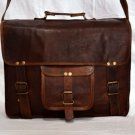 Indian Handmade Real Leather Vintage Messenger Bag Brown Satchel Laptop Bag