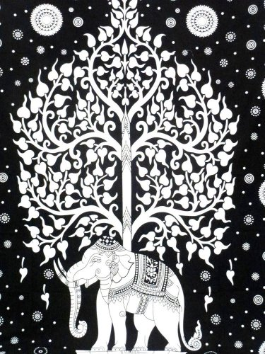 Elephant Tree Hippie Tapestry Cotton Wall Hanging Mandala Bohemian Bedspread