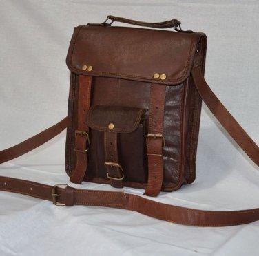 Real Leather Genuine Handmade Messenger Bag Shoulder Brown Rucksack Satchel Bag