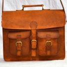 Real Genuine Leather Handmade Messenger Bag Laptop Satchel Bag Brown Purse