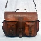Real Leather Vintage Messenger Laptop Bag Natural Briefcase Handmade Brown Bag