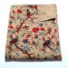 Queen Size Bird of Paradise Beige Kantha Quilt Reversible Throw  Bedspread Ralli