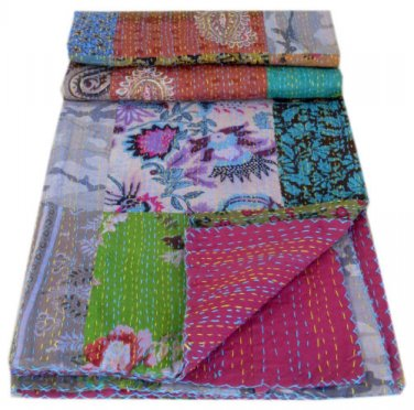 Handmade Patchwork Kantha Quilt Floral Print Indian Throw Reversible Bedcover