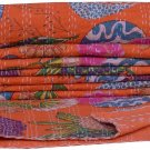 Indian Queen Size Floral Print Orange Kantha Quilt Bedcover Throw Bedspread