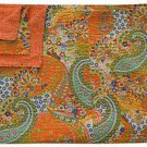 Twin Size Indian Handmade Reversible Paisley Cotton Kantha Quilt Throw Bed Cover