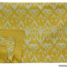 Indian Twin Size Yellow Ikat kantha Quilt Reversible Handmade Bedspread Throw