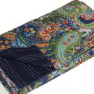 Handmade Indian Blue Paisley Cotton Kantha Quilt Reversible Queen Size Throw