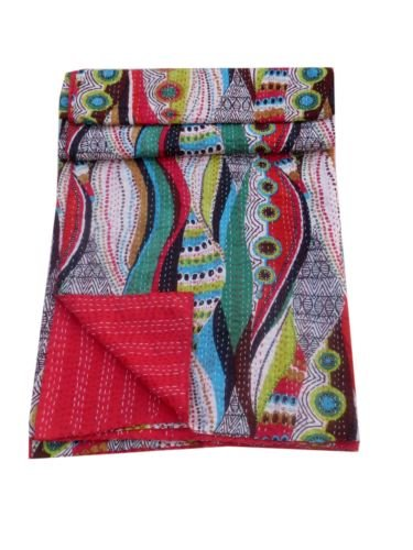 Queen Size Indian Handmade Kantha Quilt Bedcover Reversible Throw Bedspread