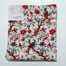 Queen Size White Bird of Paradise Kantha Quilt Reversible Throw Bedspread Ralli