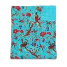 Queen Size Bird of Paradise Turquoise Reversible Kantha Quilt Throw Bedspread