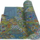 Handmade Indian Grey Paisley Cotton Kantha Quilt Reversible Queen Size Throw