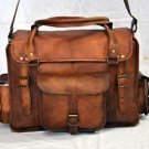 Real Leather Handmade Briefcase Satchel Bag Shoulder Brown Rucksack Cross Bag