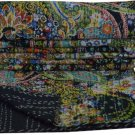 Indian Handmade Black Paisley Cotton Kantha Quilt Reversible Queen Size Throw