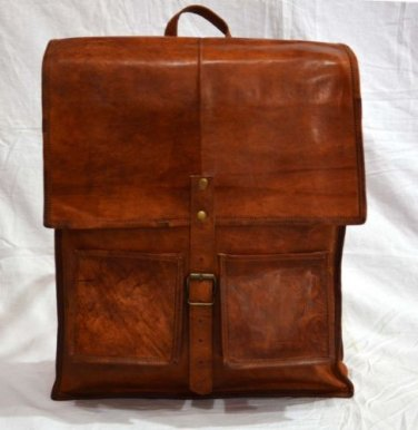 Real Leather Handmade Backpack Shoulder Brown Bag Rucksack Briefcase Tote Bag
