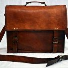 Real Leather Unisex Messenger Handmade Cross Body Bag Brown Bag Briefcase Tote