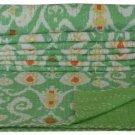 Queen Size Handmade Green Ikat Kantha Quilt Cotton Throw Bedsheet Bedspread