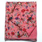 Indian Handmade Bird of Paradise Kantha Quilt Queen Size Reversible Throw Ralli