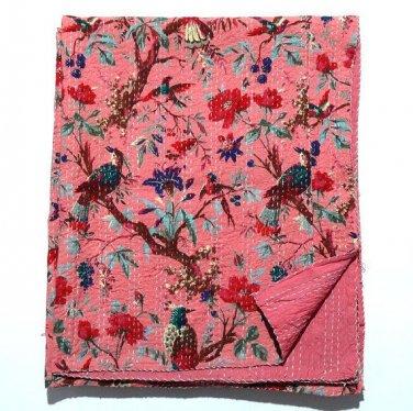Indian Handmade Bird of Paradise Kantha Quilt Queen Size Reversible Throw Ralli