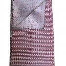 Indian Hand Block Print Handmade Kantha Quilt Reversible Bedcover Diamond Throw