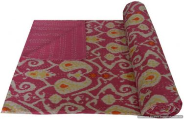 Handmade Ikat Kantha Quilt Pink Multicolor Cotton Throw Twin Size Bedsheet Ralli