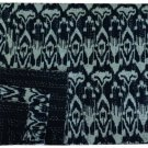 Indian Handmade Black Ikat Kantha Quilt Reversible Throw Queen Size Bedspread