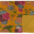 Indian Yellow Twin Size Tropical Kantha Quilt Bedcover Throw Bedspread Bedsheet