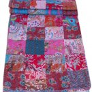 Indian Handmade Queen Size Patchwork Kantha Quilt Reversible Bedcover Throw